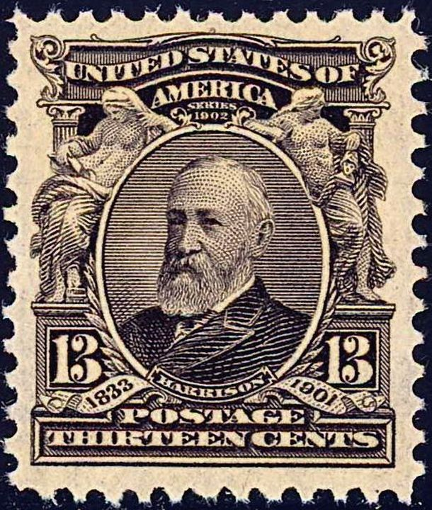 English: US Postage stamp: Benjamin Harrison, ...
