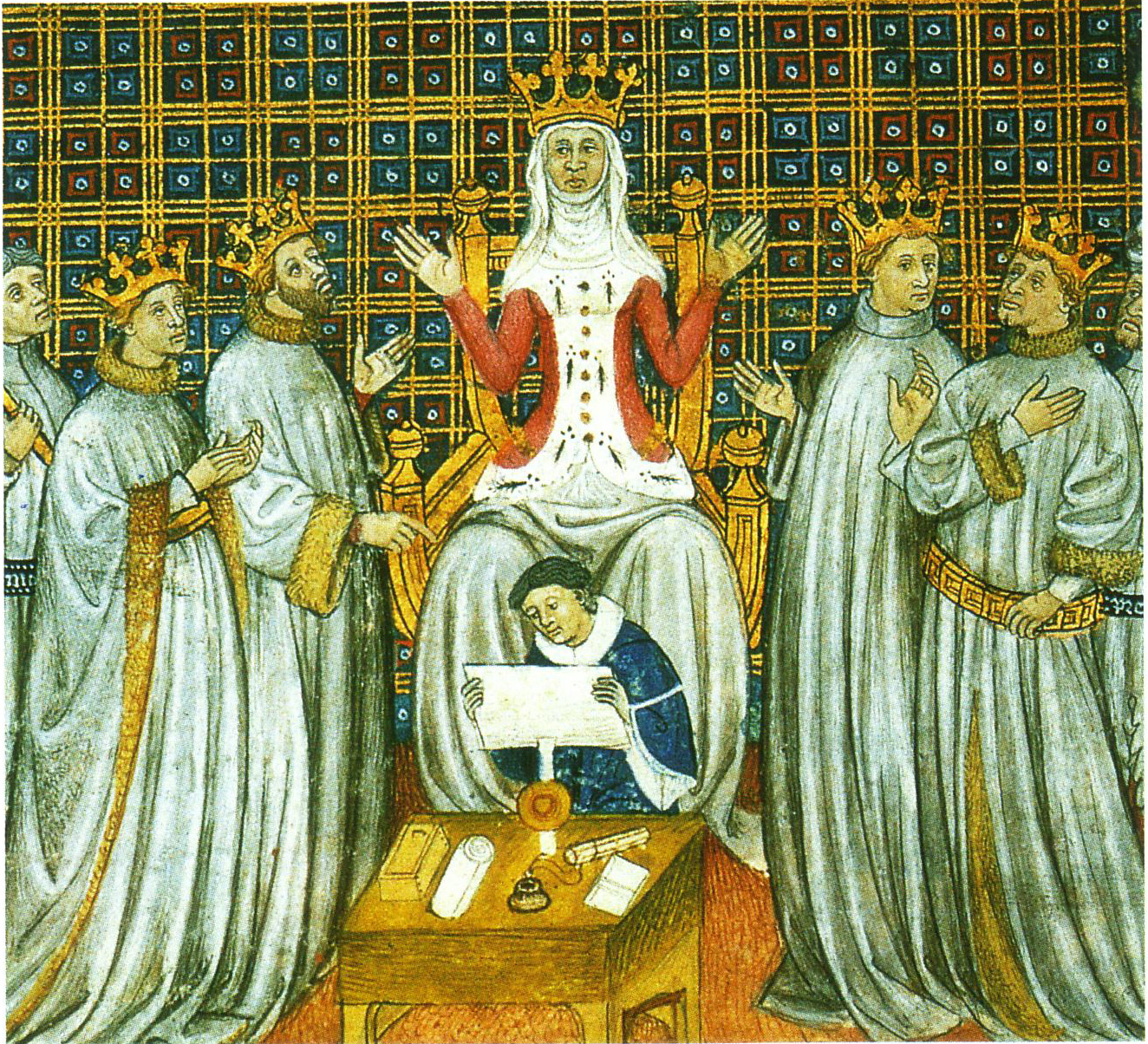 Clotilde of Burgundy divides the kingdom of the Franks between the four sons of Clovis I