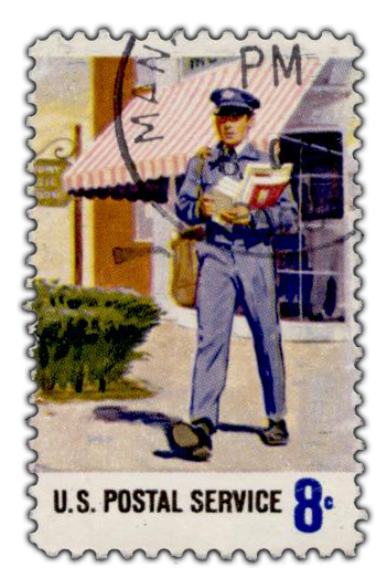 English: USPS stamp showing a postman, from en...