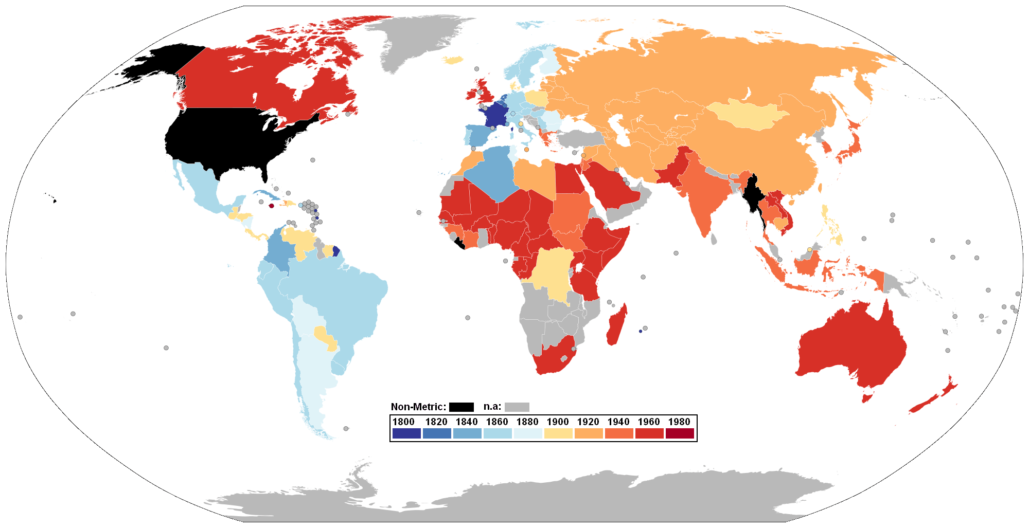 World Map showing Metrication, colour-coded by year of conversion. Using data from USMA (U.S. Metric Association)
