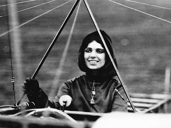 Harriet Quimby at the controls of a Blériot XI.