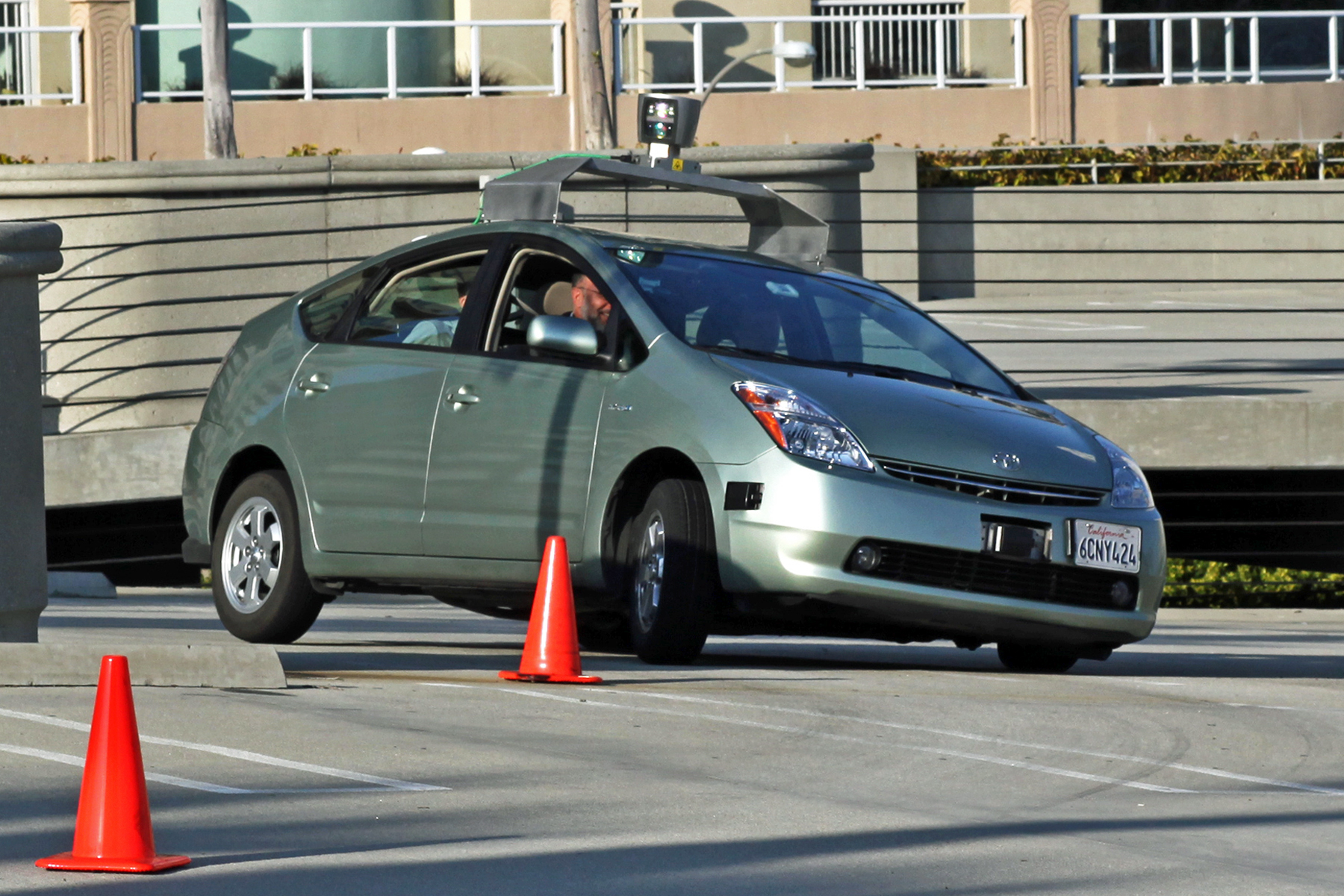 Google driverless car operating on a testing path