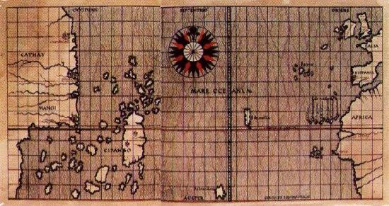 Атлантический океан на карте Тосканелли
