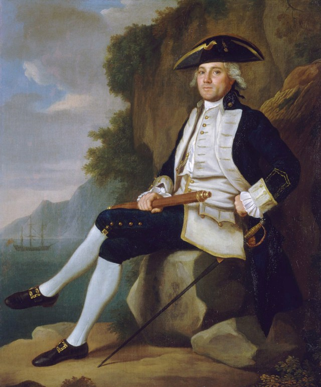 Painting of Captain Edward Vernon (1723-1794), British Naval officer, wearing a dark blue uniform probably dyed with indigo. Painted in the mid-18th century, oil on canvas. Image Credit : Francis Hayman (painter), Royal Museums Greenwich UK.