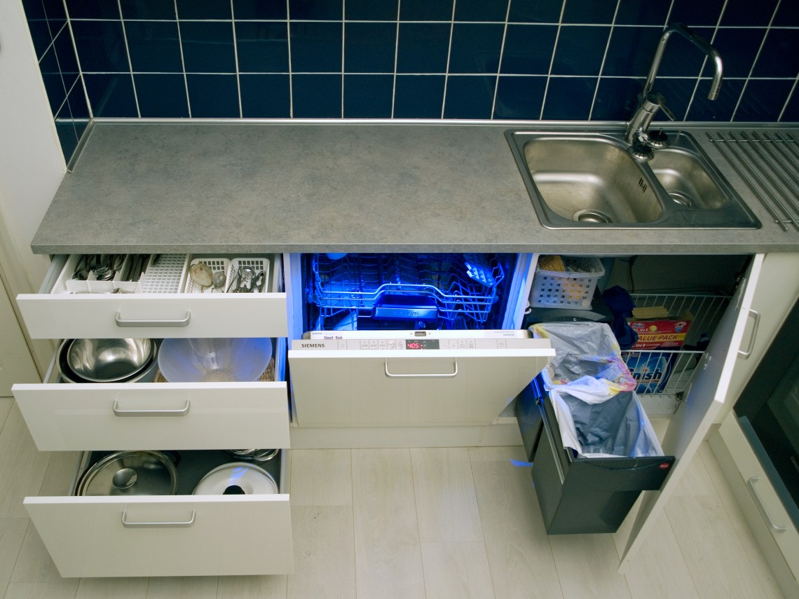 Integrated kitchen with lower cabinets open White Kitchen Sink Faucets
