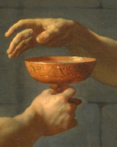 Detail of The Death of Socrates. A disciple is...