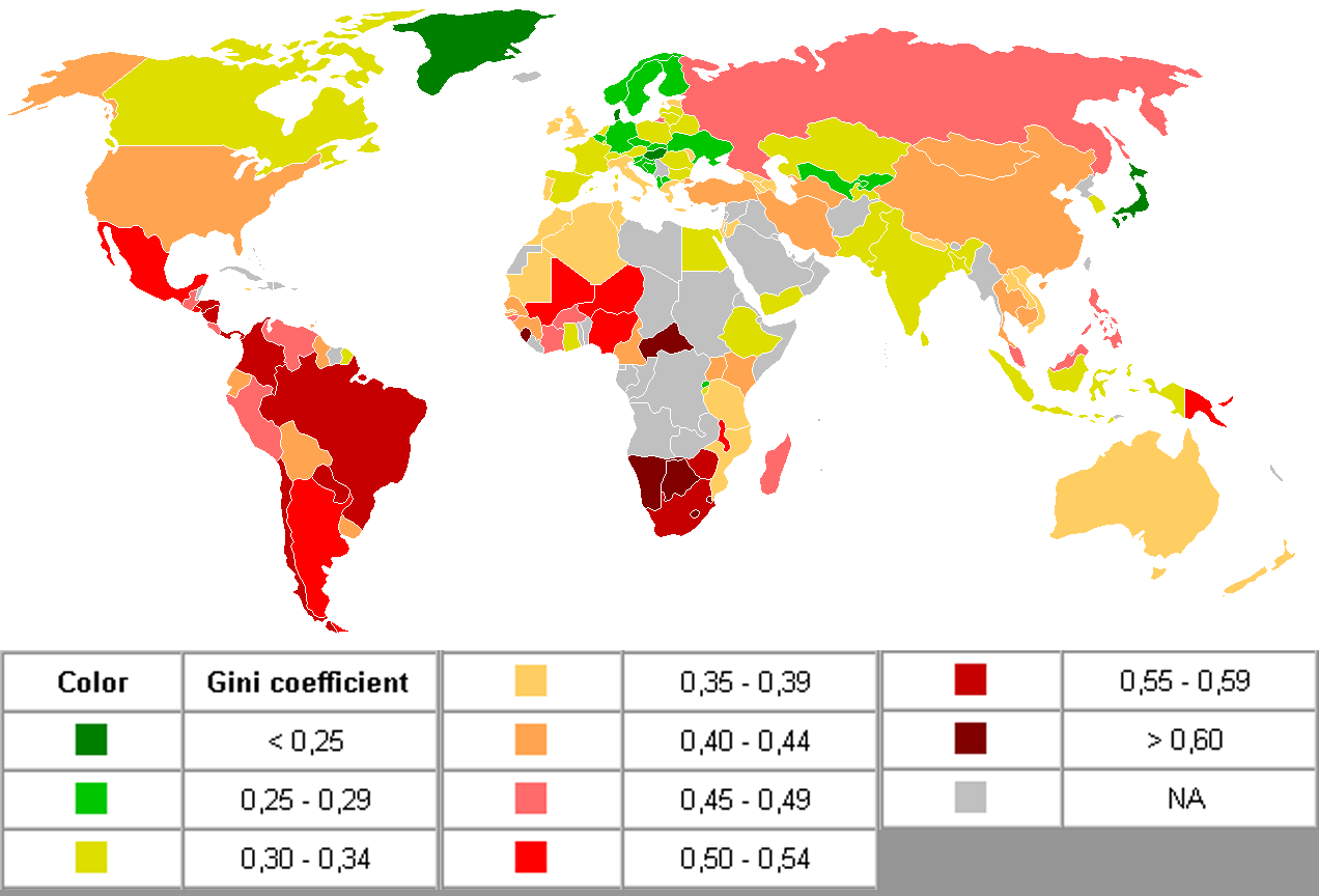 Gini coefficients 2006: Wikimedia Commons