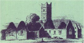 The abbey ruins as depicted in William Wilde's 1867 book, Lough Corrib, Its Shores and Islands.