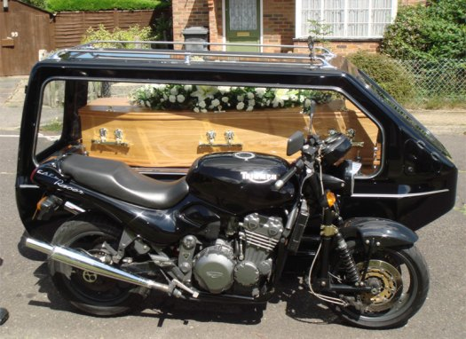 (Motorcycle hearse: not necessarily the hearse used by the driver in the story.)