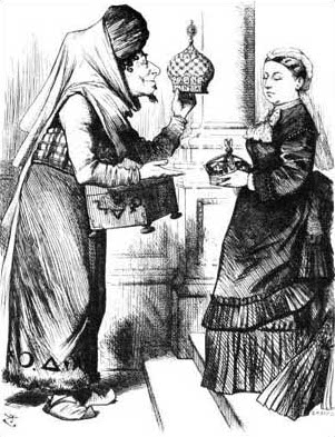 """The new crown to the old."" A political cartoon in 1876. Disraeli gives the crown of India to Queen Victoria."