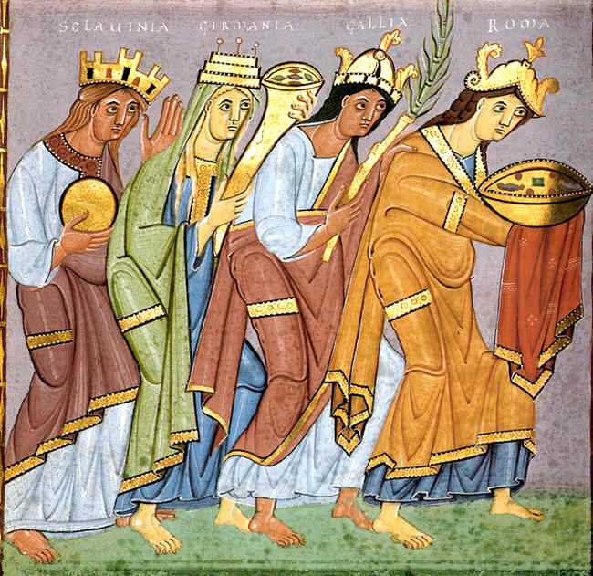 Sclavinia, Germany, Gaul and Rome bringing gift to Emperor Otto III.