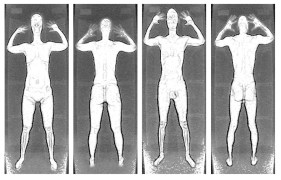 Images of a human body taken by a TSA body scanner. The facial features look like a skull, and the genitals are clearly visible
