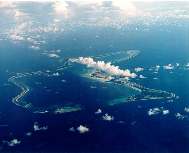 Image of Diego Garcia.  No mountains, misty or otherwise, noted.