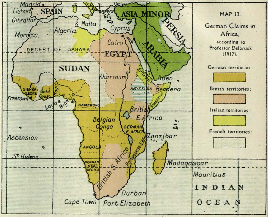 German Empire in Africa German Claims in Africa 1917