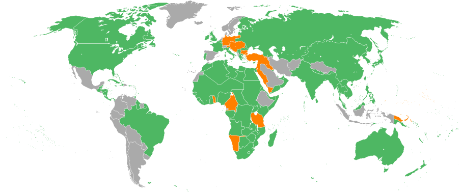 The world of World War I. Countries shown in green were the Allied powers, which were led by the U.S. after the American entry into the conflict in 1917. The countries in orange were the German-led Central Powers.