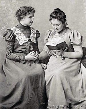 Helen Keller and Anne Sullivan in 1898. On the...