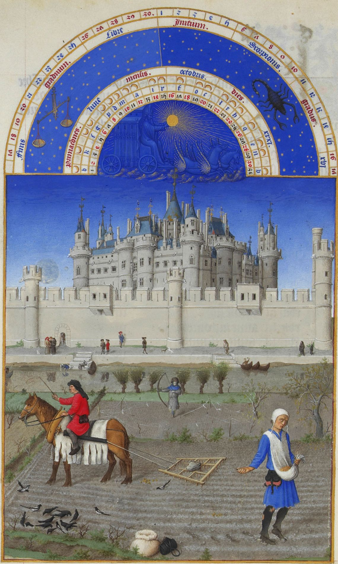 "Limbourg Brothers, ""The Book of Hours."" Sowing of winter crops."