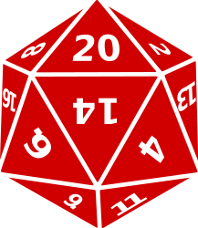 English: A twenty-sided die (d20) as used in w...