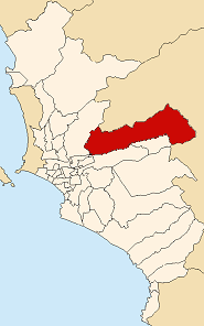 Map of Lima highlighting the Lurigancho distri...