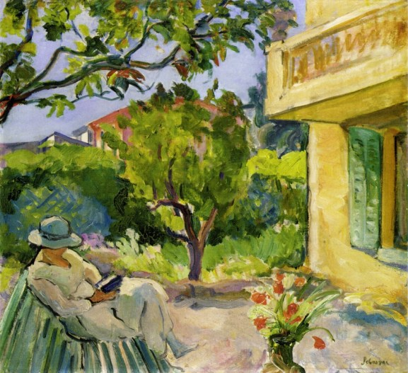 """Le Cannet, Madame Lebasque Reading in the Garden,"" oil on canvas, by the French artist Henri Lebasque"