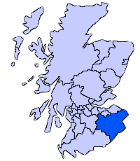 The Scottish Borders shown within Scotland