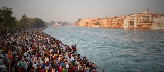 Bathing ghat on the Ganges during Kumbh Mela, 2010, Haridwar