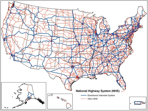 The us interstate highway system, known officially as the dwight d. National Highway System United States Wikipedia