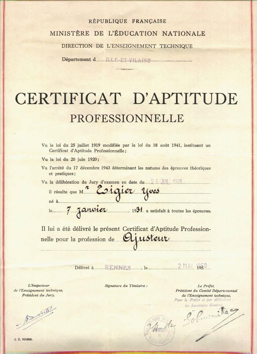 Certificat Daptitude Professionnelle Wikipdia