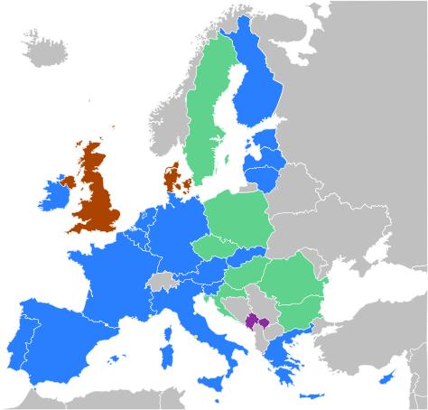 Los paises en azul tienen el Euro como moneda circulante