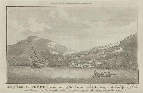 Endeavour at Endeavour River, engraving c. 1786