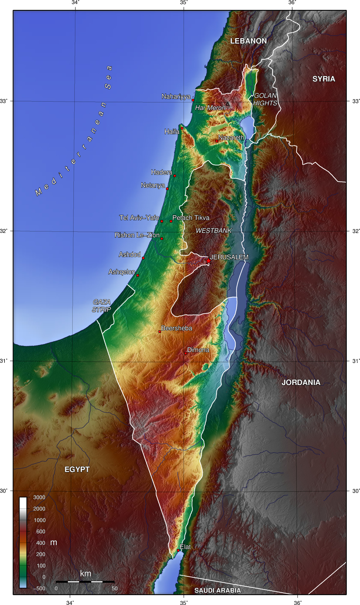 Israel Geographical Map