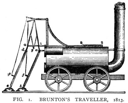 "Brunton's ""Mechanical Traveller"", an early steam locomotive driven by mechanical legs (1813)."