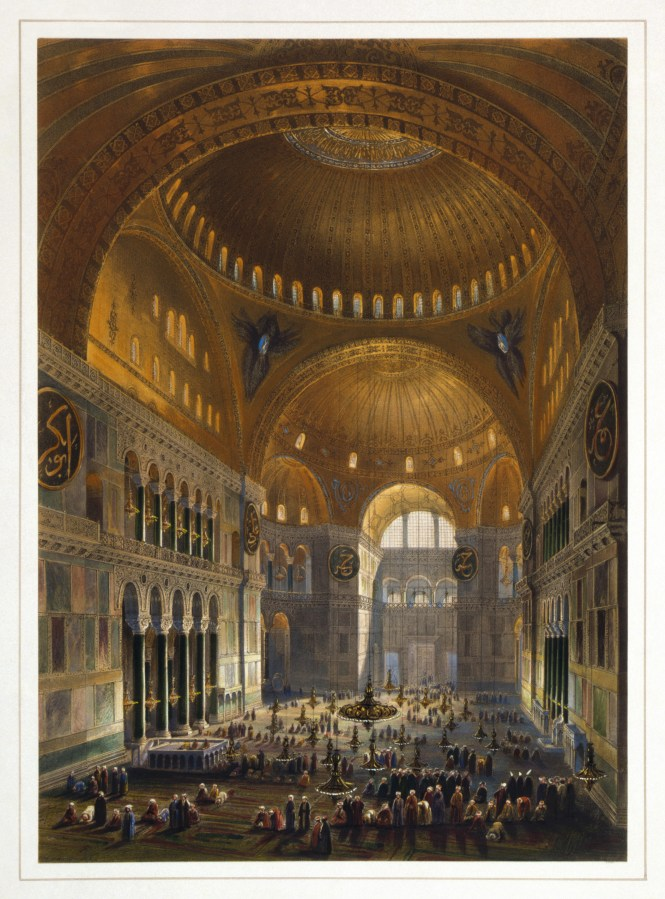 Hagia Sophia During Its Time As A Mosque Ilration By Gaspare Fossati And Louis Haghe From 1852