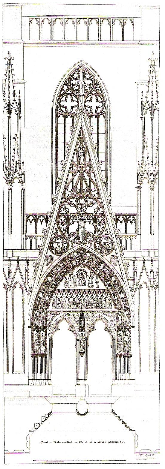 Zeichnung des Portals der Liebfrauenkirche, Mainz, aus: Neues Jahrbuch für das Bistum Mainz (1990); Quelle: wikipedia