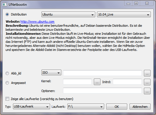 Unetbootin unter Windows (Quelle: Wikipedia)
