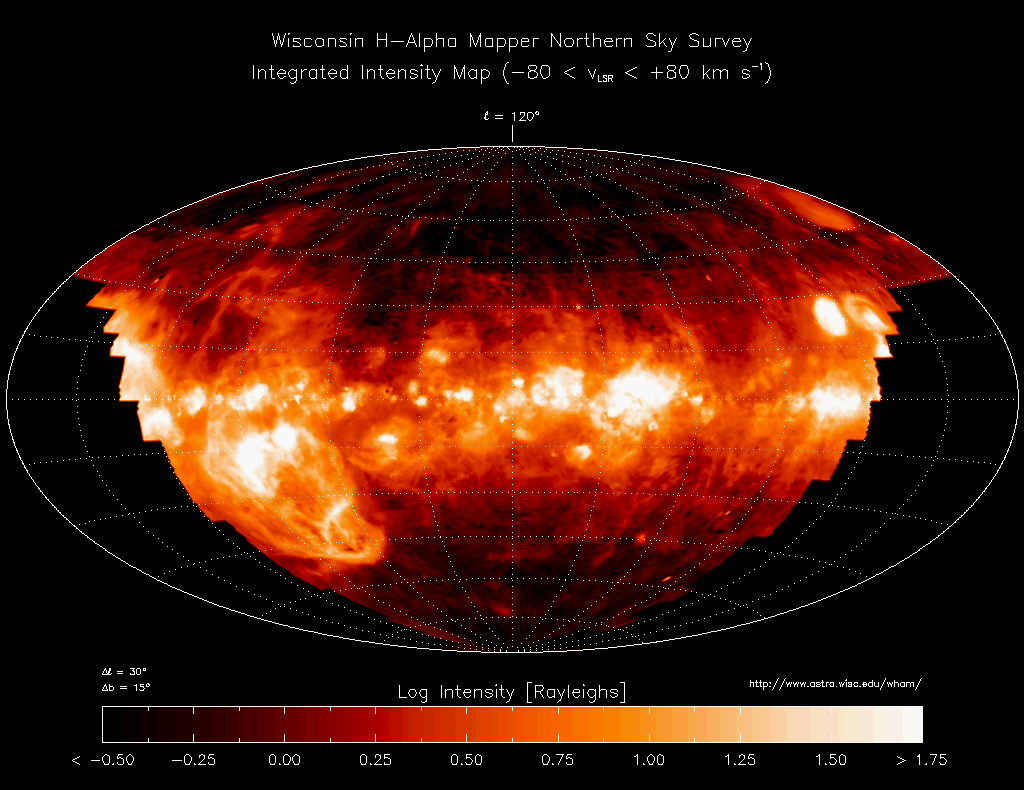 La répartition d'hydrogène ionisé dans des régions du milieu interstellaire, vue depuis l'hémisphère nord de la Terre - Ashill - Kauczuk - Wikimedia Commons