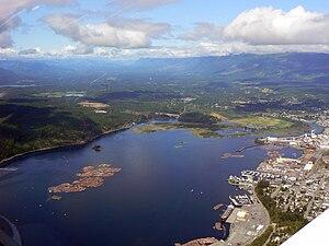 English: Aerial view of Port Alberni harbour.