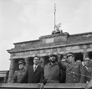 Fidel Castro and members of the East German Po...