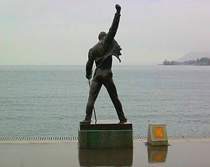 Bronze statue of Freddie Mercury without touri...