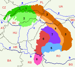 Map of the Carpathians. The North Hungarian Mo...
