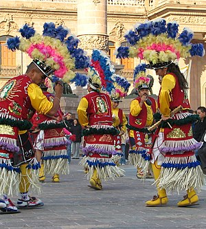 English: Matlachines open processions to honor...