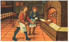 Picture shows an medieval baker and apprentice, traditionally people were trained over long periods of time