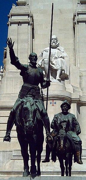 Wikipedia: Bronze statues of Don Quixote and Sancho Panza, at the Plaza de España in Madrid