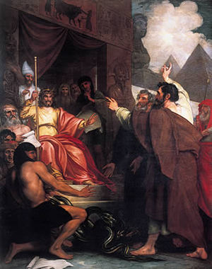 Moses and Aaron before Pharaoh (painting by Be...