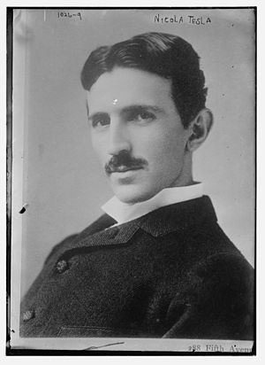 English: Nicola Tesla. Glass negative. 5 x 7 i...