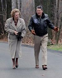Ronald Reagan y Margaret Thatcher en Camp David.
