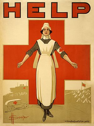English: Poster showing a nurse, with her arms...