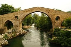 Old Roman bridge at Cangas de Onis with the As...
