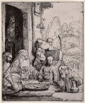 Abraham Entertaining the Angels (etching by Re...