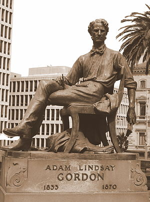 English: Adam Lindsay Gordon monument in Melbo...